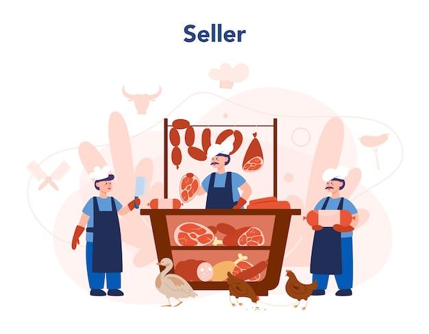 Slager of vleesman concept