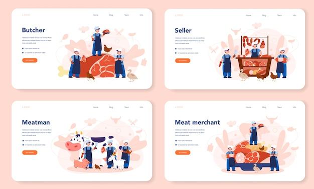 Slager of vleesman web-bestemmingspagina-set. vers vlees en vleeswaren met ham en worst, rundvlees en varkensvlees. geïsoleerde vectorillustratie