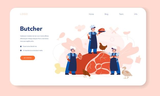 Slager of vleesman webbanner of bestemmingspagina Premium Vector