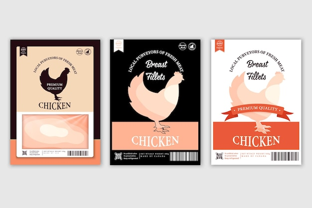 Slagerij etiketten met silhouetten van boerderijdieren koe kip varken lam en eend en vlees