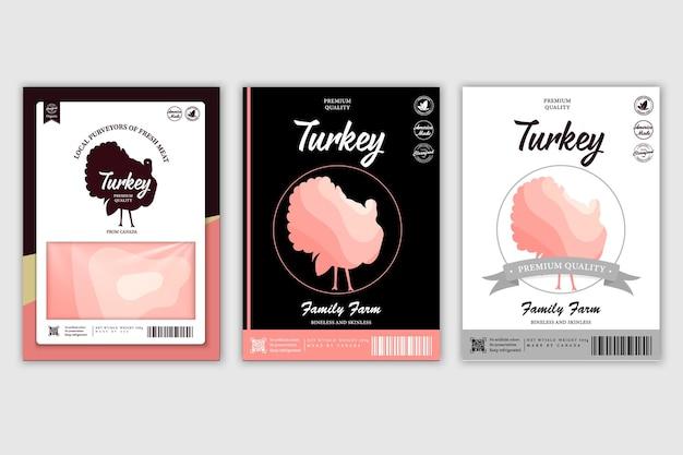 Slagerij etiketten met silhouetten van boerderijdieren koe kip varken lam kalkoen en eend en vlees