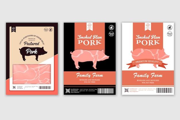 Slagerij etiketten met silhouetten van boerderijdieren koe kip varken lam kalkoen en eend
