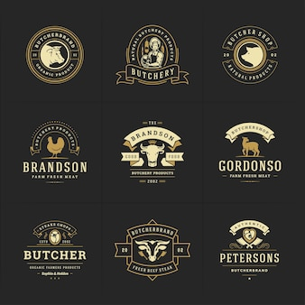 Slagerij logo's instellen illustratie goed voor boerderij of restaurant badges met dieren en vlees silhouetten