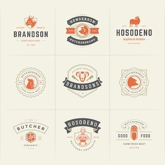 Slagerij logo's instellen vectorillustratie goed voor boerderij of restaurant badges met dieren en vlees silhouetten