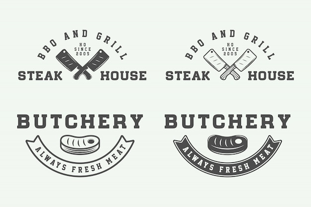 Slagerij steak logo's, emblemen