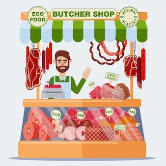 Slagerij. verkoper van vlees. vleesproducten. vector illustratie