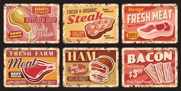 Slagerij vers vlees roestige metalen platen