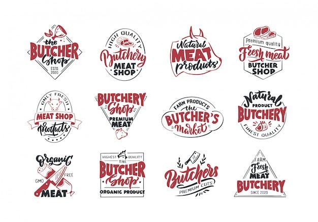 Slagerij, vleeswinkel, vers vlees, emblemen, postzegels. set van retro handgemaakte badges, labels en logo-elementen, symbolen, zinnen, slogans