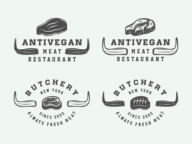 Slagerijvlees, steak of bbq-logo's