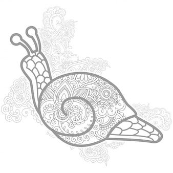 Slak in zentangle gestileerd voor volwassen kleurplaat