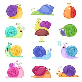 Slak vector slak-vormige karakter met shell en cartoon slakvis of slak-achtige weekdier kinderen illustratie set van mooie slak tempo slakken geïsoleerd op witte achtergrond