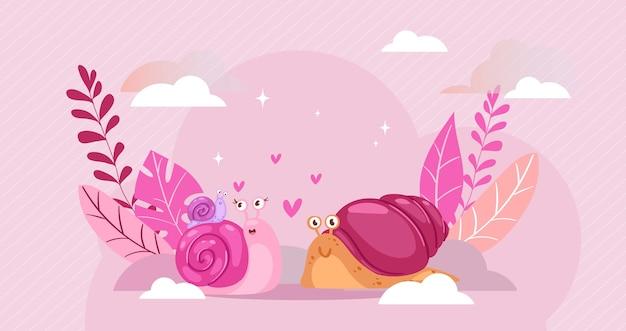 Slakssamenstelling, slakliefde, gelukkig hart, spiraalvormig dier, romantisch schattig, romantiek twee, illustratie. creatieve achtergrondgeluk, liefdesrelatie, mooi stel.