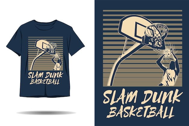 Slam dunk basketbal silhouet tshirt ontwerp