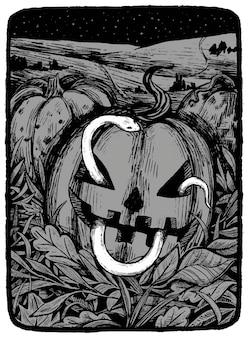 Slang die op halloween-pompoen kruipen. hand getekend vectorillustratie in zwart-wit kleuren. abstracte grafische tekening geïsoleerd op wit. element voor ontwerp, inrichting.