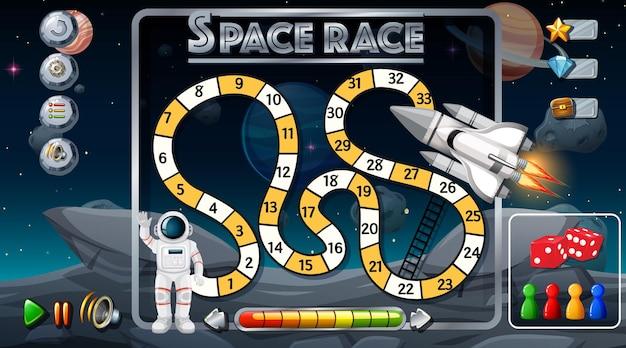 Slang en ladders spelsjabloon met ruimtethema