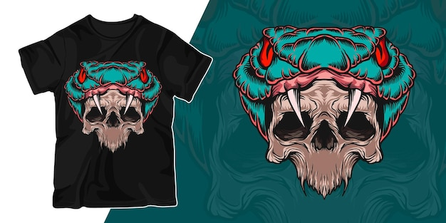 Slang en schedel de t-shirtontwerp van de kunstwerkillustratie