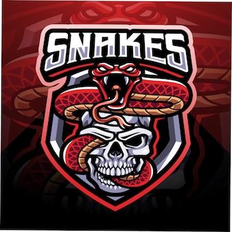Slang met schedel esport mascotte logo-ontwerp