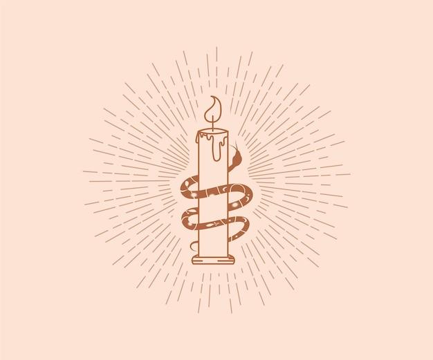 Slang wikkelt zich rond kaars occultisme magisch logo vrouwelijke lijn kunst kaars slang stralen ontwerpelementen