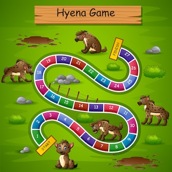 Slangen en ladders game hyena-thema