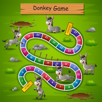 Slangen en ladders spel ezels thema