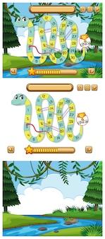 Slangen en ladders spel ingesteld met vijver achtergrond