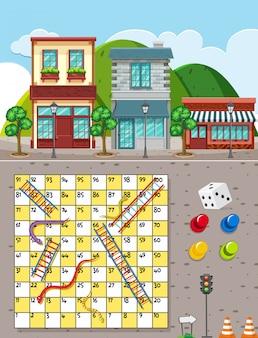 Slangen en laddersspel op stadsachtergrond