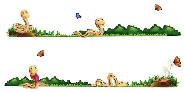 Slangen kruipen in de veld illustratie
