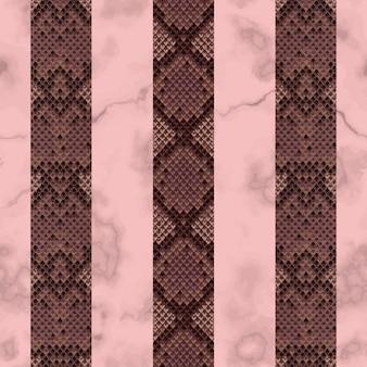 Slangenhuid en marmerroze en kastanjebruin verticaal naadloos patroon dierlijk gestreept herhaalbehang