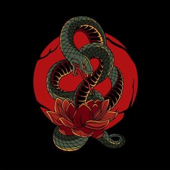 Slangenillustratie op de lotus met japanse su