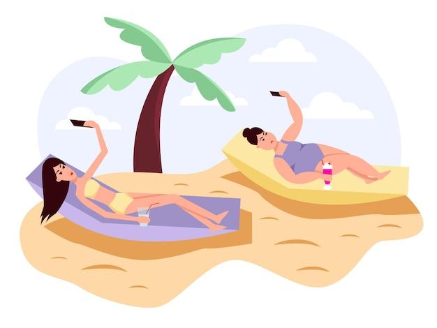 Slanke en dikke dames nemen selfies, schieten selfies op de telefoon voor sociale netwerken. obesitas. gezonde en ongezonde levensstijl. kleur vector platte cartoon icoon. concept voor overgewicht.
