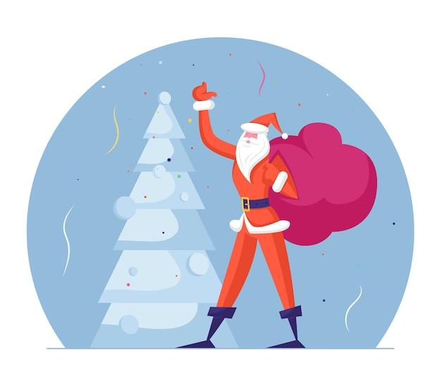 Slanke kerstman in rode traditionele klederdracht draagtas met geschenken zwaaiende hand