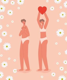 Slanke vrouwen paren in ondergoed. diversiteit concept