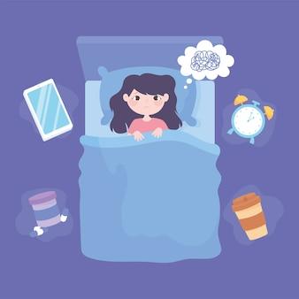 Slapeloosheid, bovenaanzicht meisje in het bed depressief vectorillustratie