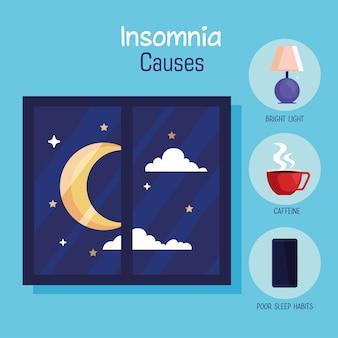 Slapeloosheid casues maan bij raam en pictogrammenset ontwerp, slaap en nacht thema