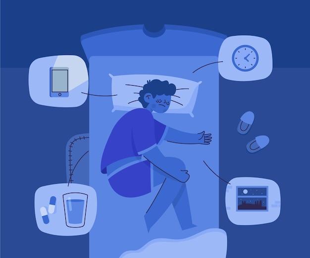 Slapeloosheid concept illustratie
