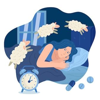 Slapeloosheid concept met vrouw en schapen