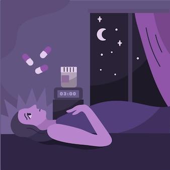 Slapeloosheid concept met vrouw in bed