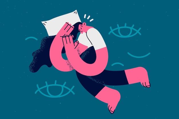 Slapeloosheid en problemen hebben met slaapconcept