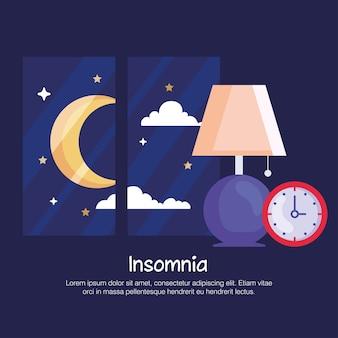 Slapeloosheid lampklok en maan bij raamontwerp, slaap- en nachtthema