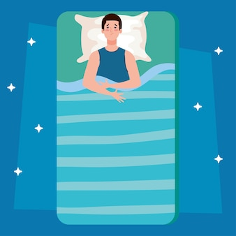 Slapeloosheid man op bed met kussenontwerp, slaap- en nachtthema
