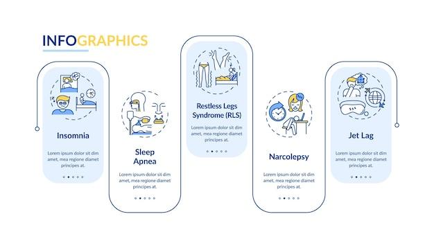 Slapeloosheid typen infographic sjabloon. rusteloze nachtelijke presentatie-elementen.