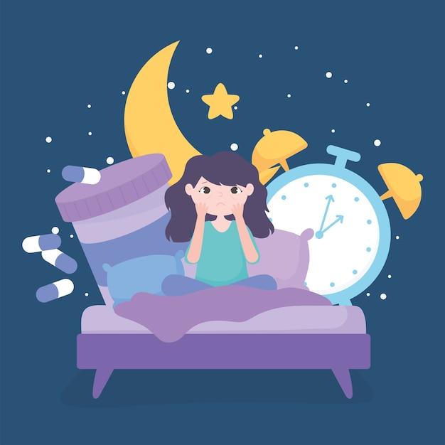 Slapeloosheid, verdrietig meisje op bed met geneeskunde klok nacht vectorillustratie