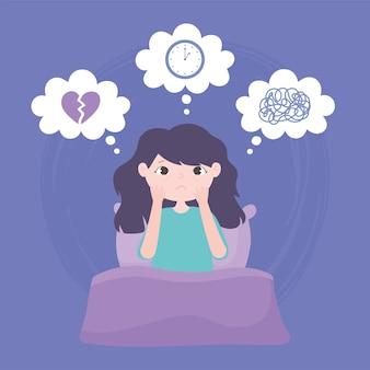 Slapeloosheid, verdrietig meisje op bed slapeloze depressie vectorillustratie