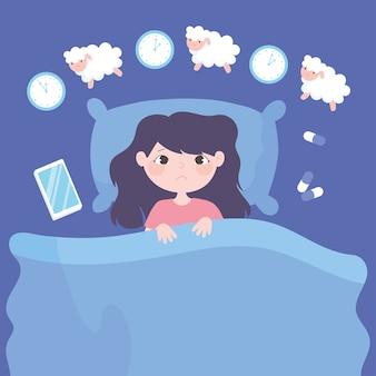 Slapeloosheid, verdrietig meisje op bed tellen sheeps met klok geneeskunde en mobiele vectorillustratie