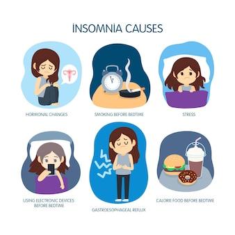 Slapeloosheid veroorzaakt concept
