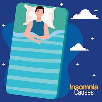 Slapeloosheid worstelt man op bed met kussen en wolkenontwerp, slaap en nachtthema