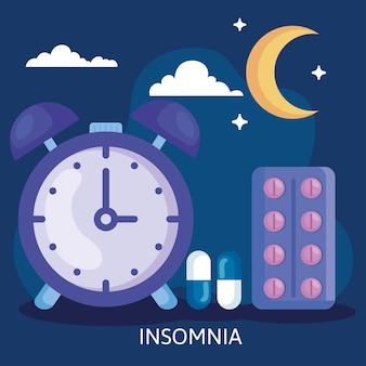 Slapeloosheidsklok met pillenmaan en wolkenontwerp, slaap en nachtthema