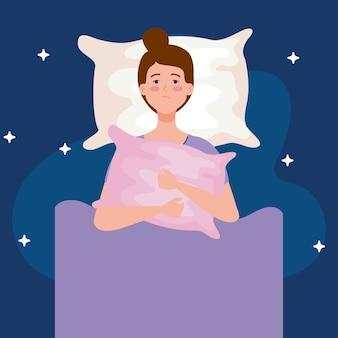 Slapeloosheidsvrouw op bed met hoofdkussenontwerp, slaap en nachtthema