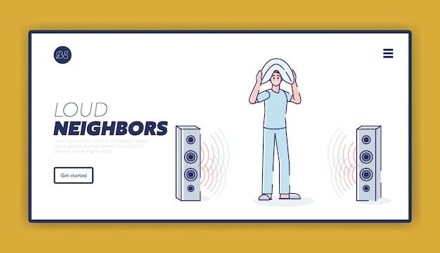 Slapeloze man geïrriteerd door luide muziek van het concept van de bestemmingspagina van de buren