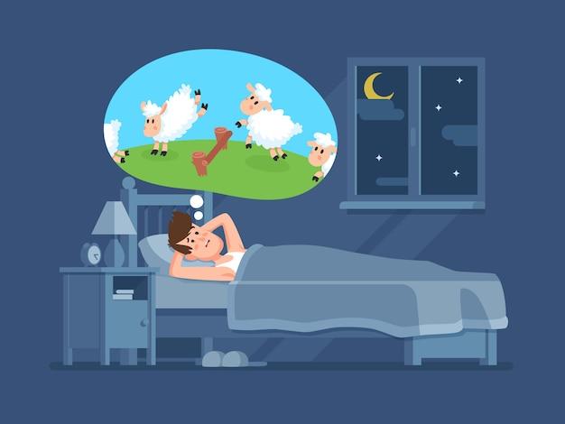 Slapeloze man in bed die in slaap tellende springende sheeps proberen te vallen. tellen van schapen voor slapeloosheid cartoon vector concept